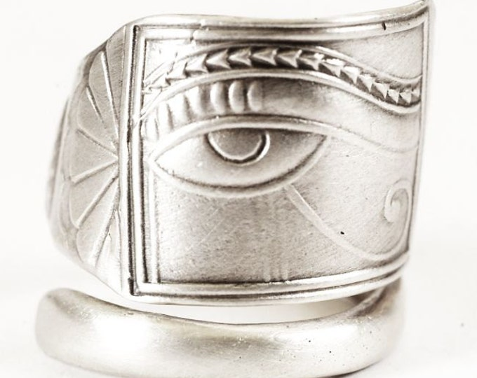 Spoon Ring Good Luck Eye of Horus or Ra, Egyptian Jewelry in Sterling Silver, Handcrafted Upcycled Eco Friendly, Adjustable Ring Size (1143)