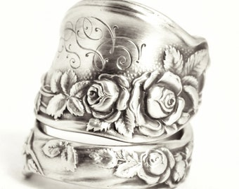 "Rose Ring, Sterling Silver Spoon Ring, International Silver Co. ""Mille Fleurs"" 1904, Floral Chunky Ring, Handmade Gift, Custom Size (7529)"