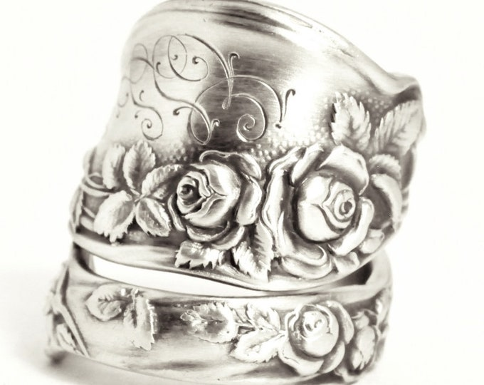 """Rose Ring, Sterling Silver Spoon Ring, International Silver Co. """"Mille Fleurs"""" 1904, Floral Chunky Ring, Handmade Gift, Custom Size (7529)"""