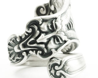 "Unique Spoon Ring, Art Nouveau Northwind Greenman ""Nuremburg"" by Alvin Co in Sterling Silver, Handmade Gift, Adjustable to Your Size (7338)"