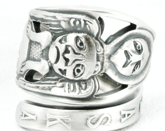 Animal Totem Pole Ring, Sterling Silver Spoon Ring, Alaska Jewelry, Alaskan Jewelry, Tribal Unique Animal Ring, Adjustable Ring Size (7010)