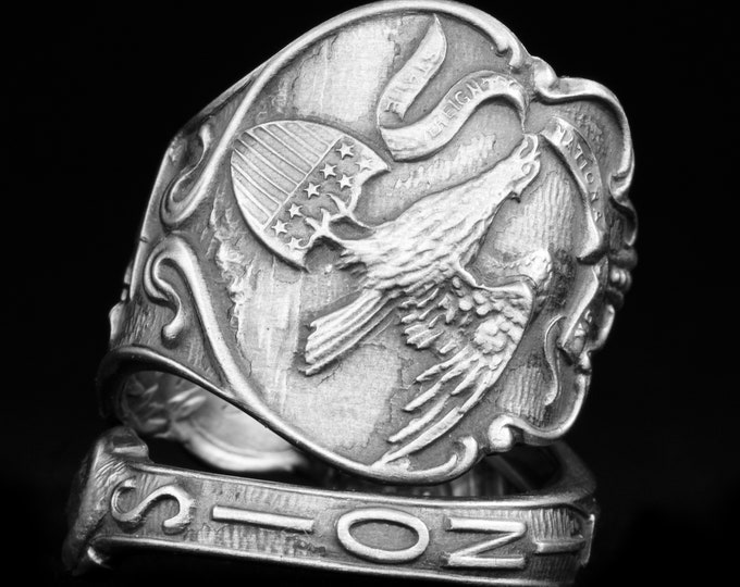 Vintage Illinois Souvenir Ring, Sterling Silver Spoon Ring, Eagle Ring, American Souvenir, Chicago Gift for Her, Adjustable Ring Size (7933)