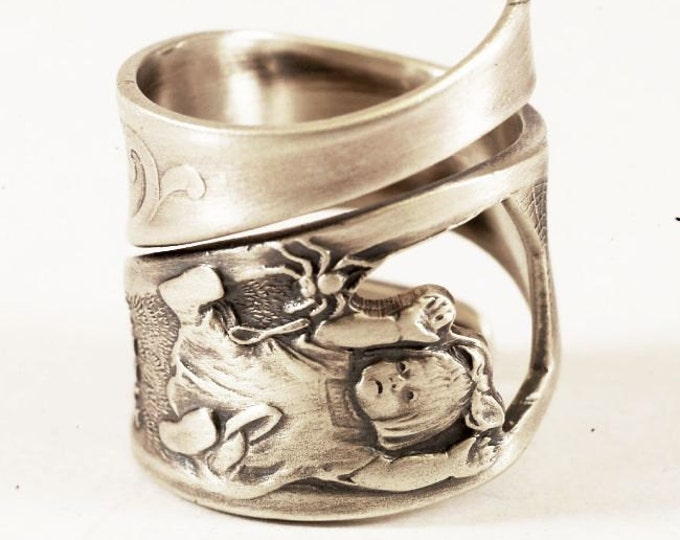 Little Miss Muffet Ring, RARE Sterling Silver Spoon Ring, Nursery Rhyme, Spider Ring, Gift for Her, Handmade in Your Size (7807)