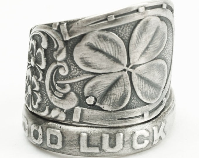 Shamrock Four Leaf Clover Ring, Sterling Silver Spoon Ring, Good Luck Ring, Lucky 4 Leaf Clover Ring, Irish Jewelry, Adjustable Ring (7185)