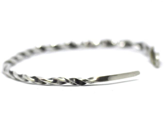 Minimalist Spoon Bracelet, Twisted Metal, 925 Vintage Sterling Silver Flatware Bracelet, Flatware Jewelry, Adjustable Cuff Size 6 7 8 (7394)