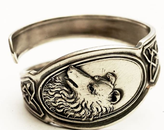 Sterling Silver Collie Ring, Dog Ring, Spiral Spoon Ring, Animal Jewelry, Dog Lover Gift, Rare Antique Flatware, Adjustable Ring Size (7576)
