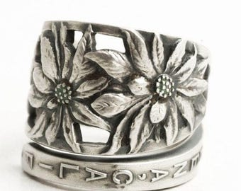 Pasadena California Ring, Poinsettia Flowers, Sterling Silver Spoon Ring, Repurposed Upcycled Handmade Jewelry, Adjustable Ring Size (6510)