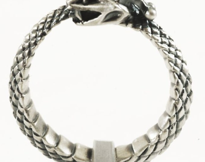 Sterling Snake Ring, Ouroboros Ring, Sterling Silver Snake Ring, Ouroborous, Uroboros, Oroboros Snake Jewelry Size 7  (V288)