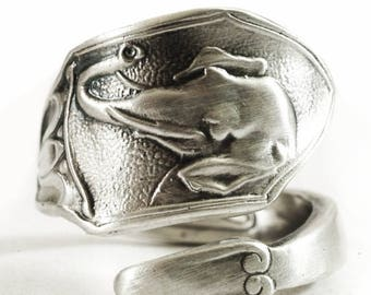 Elephant Ring, Elephant Head, Spoon Ring Sterling Silver, Tulip Flower, Good Luck Elephant, Gift for Her or Him, Adjustable Ring Size (1737)