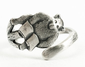 Tiny Teddy Bear Ring, Handmade Sterling Silver Spoon Ring Jewelry, Reading Bear Lovers Gift for Her, Animal Lover, Small Size 3 4 5 6 (7240)