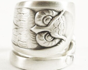 Owl Ring, Sterling Silver Spoon Ring, Bird Ring, Owl Wings, Wise Owl, Silver Owl, Handmade Jewelry Wide Adjustable Ring Size, Boho Ring 1757