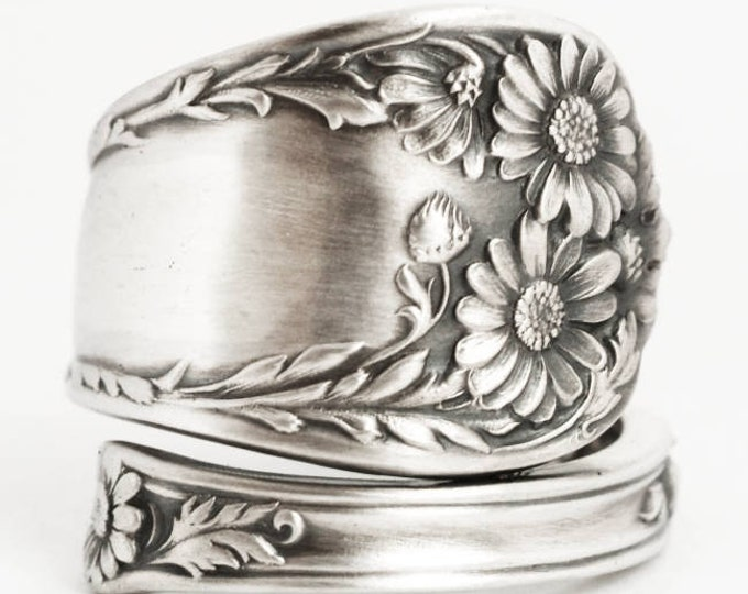 Daisy Ring, Sterling Silver Spoon Ring, Daises Flower Ring, July Gift, 5th Wedding, Letter Mono N, Adjustable Ring Size, International, 7570