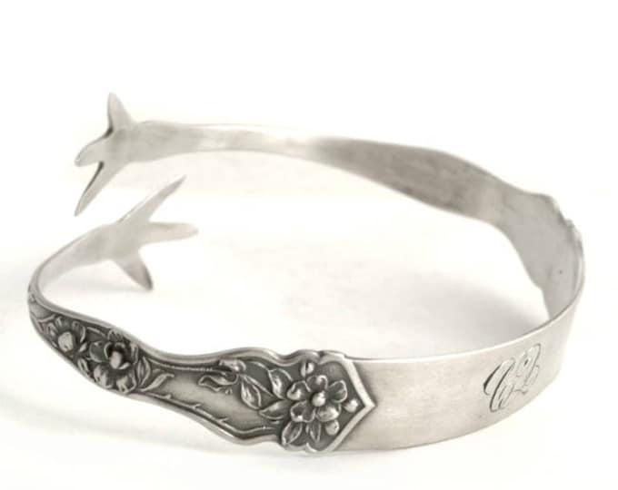 Sterling Silver Spoon Bracelet, Cherry Blossom Bracelet, Adjustable Bangle Bracelet, Sugar Tong, Gift for Her Adjustable Size 5 6 7 8 (6692)