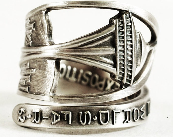 Seattle Ring, Space Needle, Sterling Silver Spoon Ring, Seattle Jewelry, Washington State Ring, Seattle Space Needle, Adjustable Ring (7599)