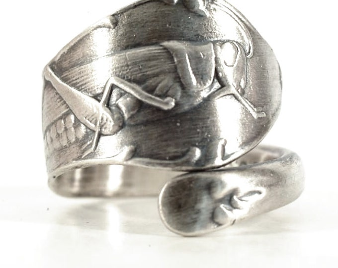 Grasshopper Jewelry, Spoon Ring Sterling Silver, Insect Jewerly, Bug Jewelry, Gift For Her, Handmade Jewelry, Customizable Ring Size (5729)