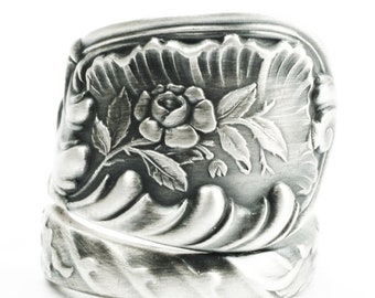 Rose Swirl Ring, Sterling Silver Spoon Ring,Floral Silver Ring, Gift for Her, Antique Woods & Hood 1885 Louvre, Adjustable Ring Size (7369)