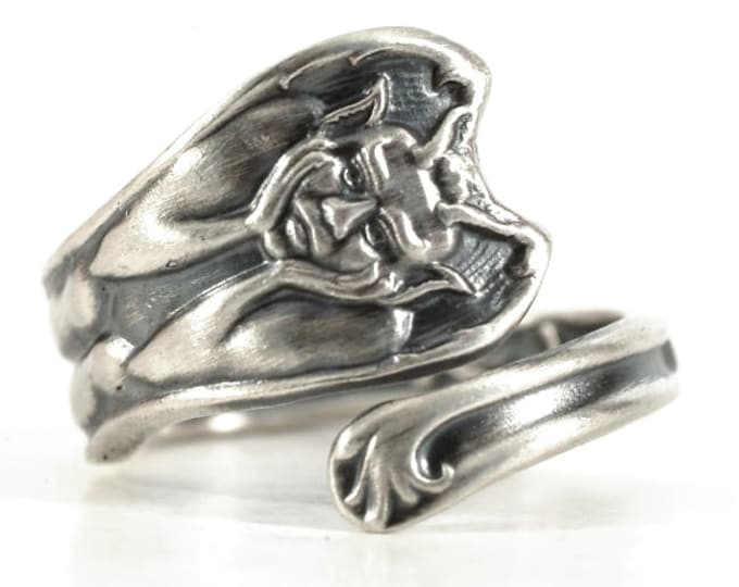 Gargoyle Ring, Tiny Ring, Sterling Silver Spoon Ring, Gargoyle Jewelry, Gothic Ring, Gothic Jewelry, Handcrafted Ring, Adjustable Ring, 5244