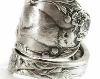 Cat Ring, Kitten Ring, Spoon Ring Sterling Silver Spoon Ring, Playing Animal Ring, Cute Animal, Cat Lover Gift, Adjustable Ring Size (V303)
