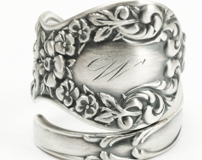Sterling Silver Flower Spoon Ring in 925, Statement Piece for Her, Wild Flower Jewelry with an Adjustable Ring Size, Manchester Spoon 7190)