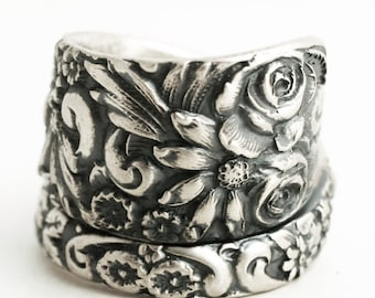 Silver Wild Flower Ring, Spoon Ring Sterling Silver, 1908 Baltimore Style Floral Ring, Rosebud Ring, Chunky Ring, Adjustable Ring Size, 7118