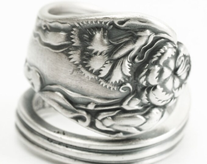"Art Nouveau Carnation Ring, Sterling Silver Spoon Ring, Antique Interntional Silver Co 1902 ""Stratford"" January Flower, Adjustable Ring 7201"