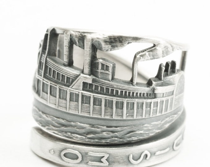 Steamboat Ring, Sterling Silver Spoon Ring, St Louis Mo, Unique Vintage Sea Ship, Boat Ring, Handcrafted Gift Adjustable to Your Size (7204)