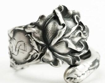 Silver Rose Ring, Spoon Ring Sterling Silver, Petite Rose Flower Ring, Mono S, Rosebud, Gardener Gift for Gardener, Bridal Rose Alvin (7246)
