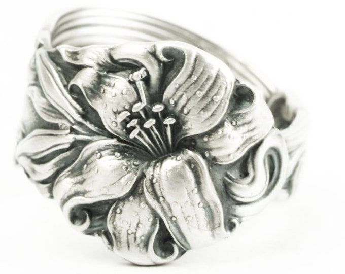 Silver Tiger Lily Ring, Sterling Silver Spoon Ring, Stargazer Lily Victorian Frontenac Floral Ring, Gift For Her, Band Ring Size 9 (7289)