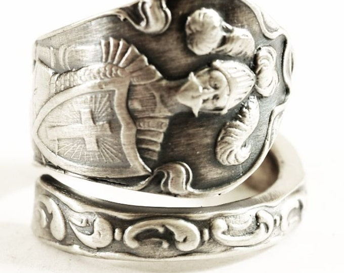 Armored Knight Sterling Ring, Feather Plume Helmet, Cross Shield, Sterling Silver Spoon Ring, Handmade Gift, Customizable Ring Size (5571)