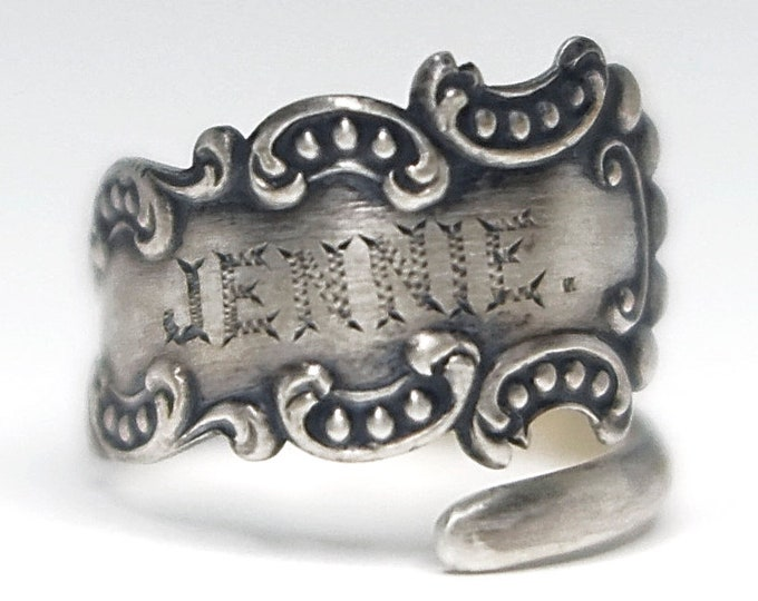 "Petite Rococo Ring, Sterling Silver Spoon Ring, Engraved ""Jennie"", Milgrain Designs, Silver Victorian Ring, Adjustable Size 5 6 7 8 (7908)"