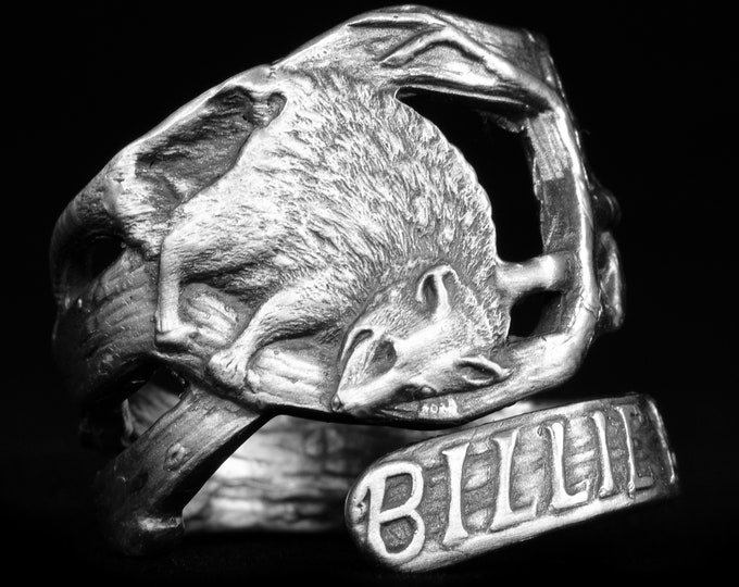 Awesome Possum Ring, Sterling Silver Spoon Ring, Silver Animal Ring, Woodland Animal, Animal Lover Gift, Opposum Ring, Adjustable Ring, 7938