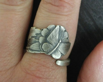 Dainty Butterfly Ring, Sterling Silver Spoon Ring, Flutterby Ring, Floral Insect Ring, Handmade Gift, Petite Ring, Custom Ring Size (312)