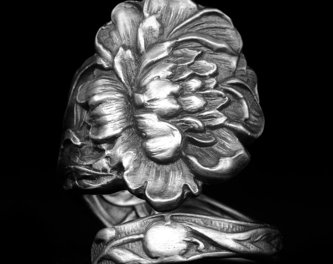Peony Ring, Peony Flower, Sterling Silver Spoon Ring, Peonies Ring, Flower Lover Gift, Art Nouveau Ring, Handmade Jewelry Custom Ring (6581)