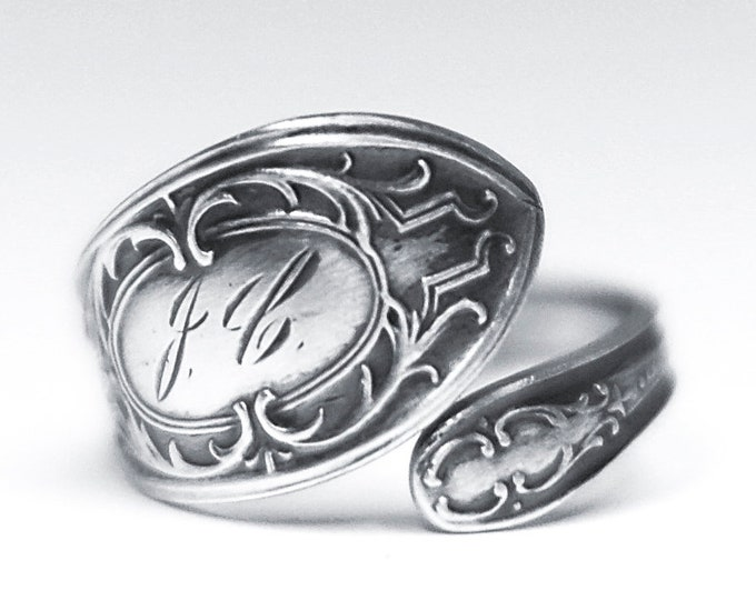 Petite Rococo Ring, Sterling Silver Spoon Ring, Lovely Art Nouveau Ring, Elegant Victorian Ring, Engraved J C, Adjustable Size 4 5 6 (7910)
