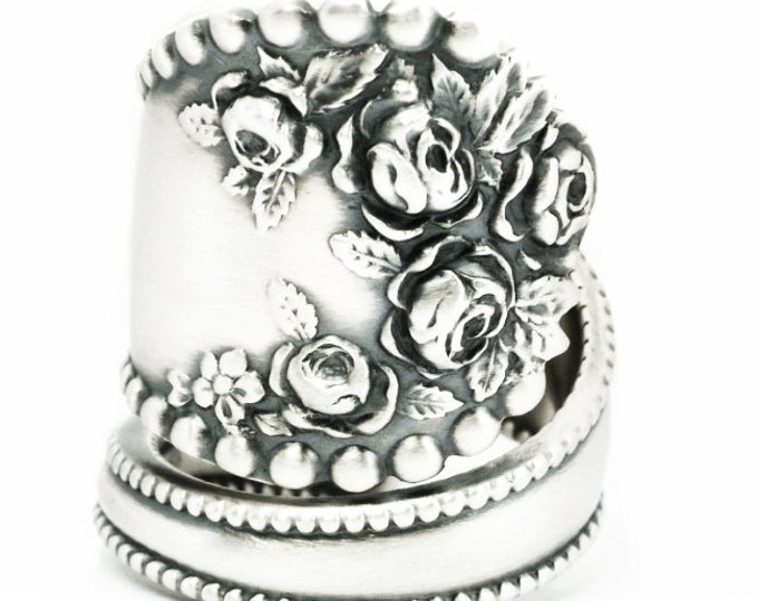 WIDE Rose Flower Ring, Spoon Ring Sterling Silver, Vintage Victorian Roses, Gorham Lancaster, Anniversary Gift, Adjustable Ring Size (7147)