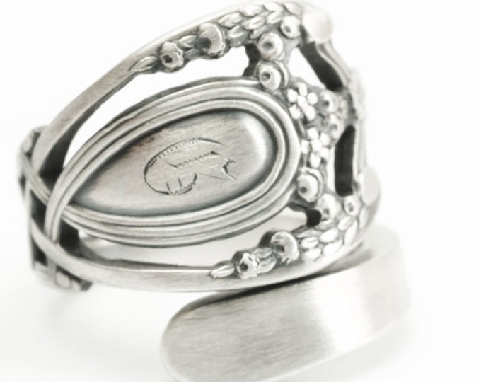"Royal Victorian Ring, Lunt Monticello, Sterling Silver Spoon Ring, Engraved ""G"", Handmade Gift for Her or Him, Adjustable Ring Size (7203)"