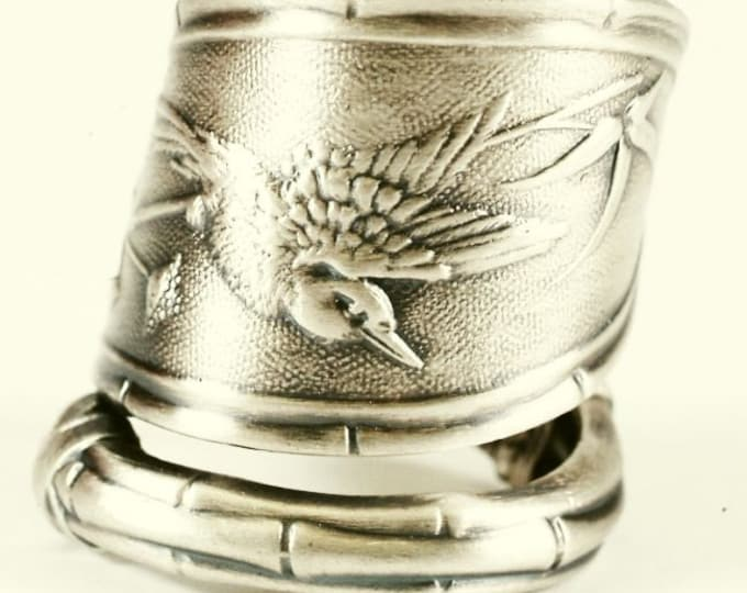 """Japanese Bird and Bamboo Ring, Sterling Silver Spoon Ring, Whiting """"Japanese"""" 1874 , Handcrafted Gift for Her, Adjustable Ring Size (7606)"""
