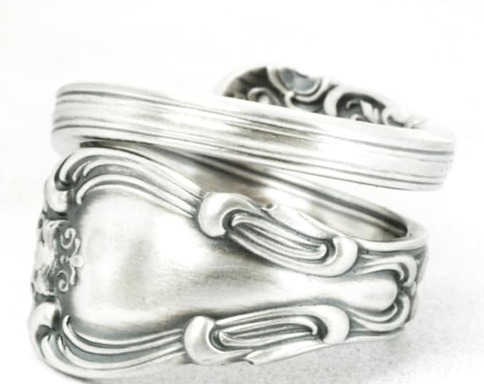 Antique Spoon Ring Sterling Silver, Gorham Silver, Gorham Chantilly ca 1895, 5th Anniversary, Wrap Spiral Ring Adjustable Ring Size (7102)