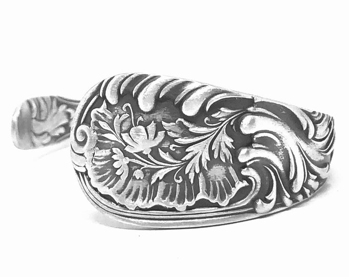 Flower Bracelet, Sterling Silver Spoon Cuff Bracelet, Antique Wood & Hughes Louvre 1885, Art Nouveau Bracelet, Adjustable Size 6 7 (B7873)