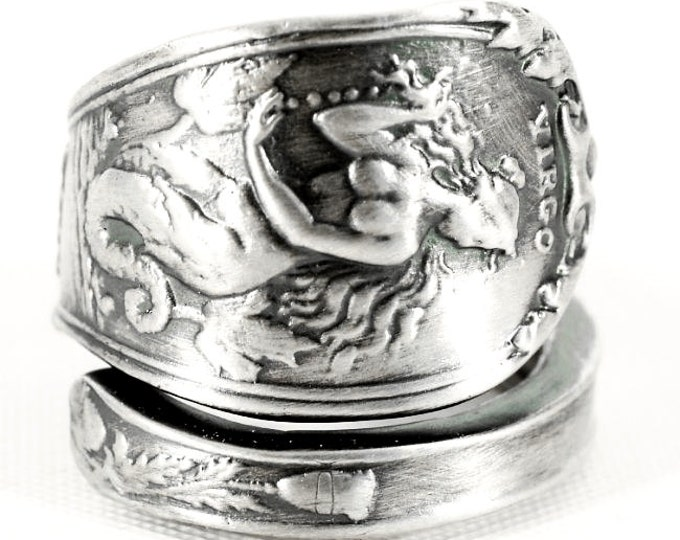Horoscope Virgo Ring, Spoon Ring Sterling Silver, Virgo Jewelry, Virgo Zodiac Ring, Double Tailed Siren Ring, Mermaid Ring, Custom Size 3161