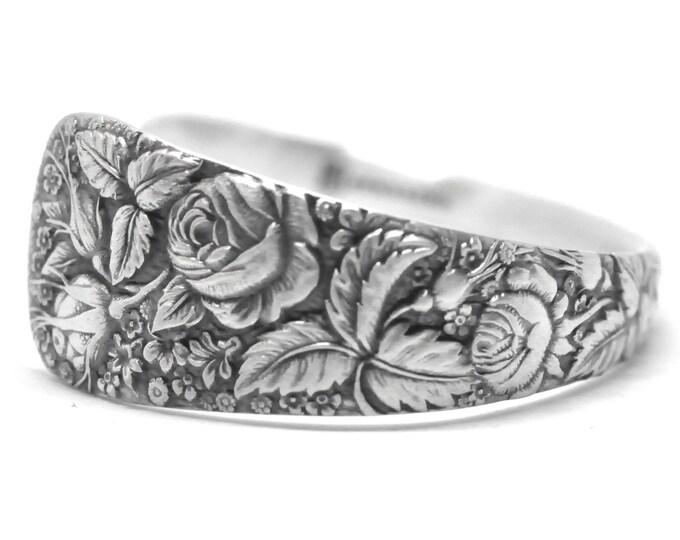 Rose Bracelet, Floral Cuff Bracelet, Antique Sterling Silver Spoon Bracelet, Gift Her, Wildflower Sterling Flatware Jewelry, Size 6 7 (7393)