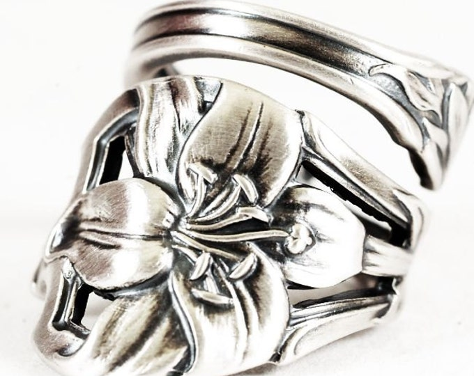 Easter Lily Ring, Lilly Flower Ring, Sterling Silver Spoon Ring, Antique Watson Co Spoon, Handmade Gift for Her, Adjustable Ring Size (6611)