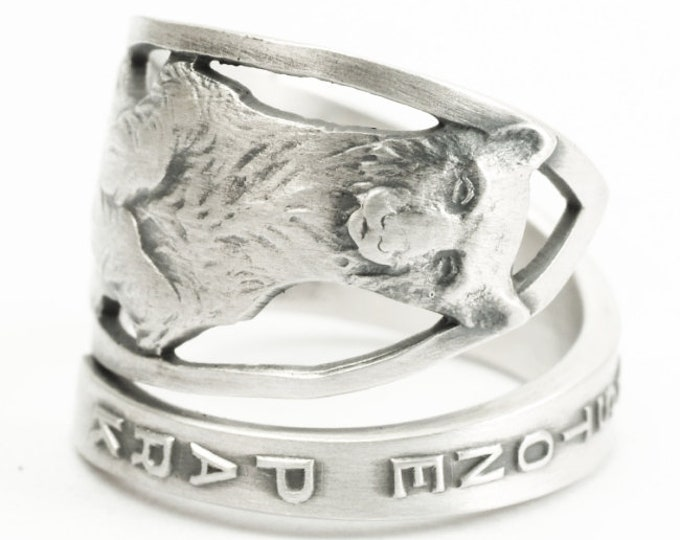 Yellowstone National Park Ring, Bear Ring, Spoon Ring Sterling Silver, Montana Wyoming Ring, Wild Animal Ring, Ring Size 6 7 8 9 10 11, 7211