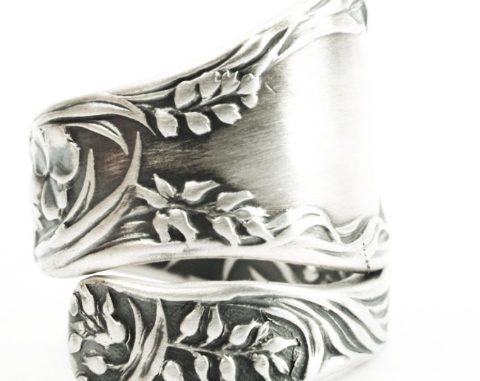 Spoon Ring Clover Leaves Oats and Barley in Sterling Silver, Antique Gorham Meadow Pattern of 1897, Handmade Gift Adjustable Ring Size, 7356