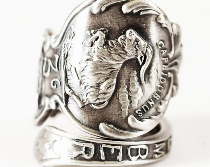 Capricorn Zodiac Ring, Sterling Silver Spoon Ring, December Birthday Gift, January Birthday Gift, Antique Wallace, Adjustable Size (5900)
