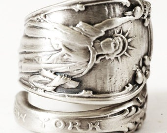 Statue of Liberty Ring, Sterling Silver Spoon Ring, Souvenir Spoon, NYC Jewelry, Lady Liberty, Eco Friendly Jewelry, Adjustable Ring (4870)