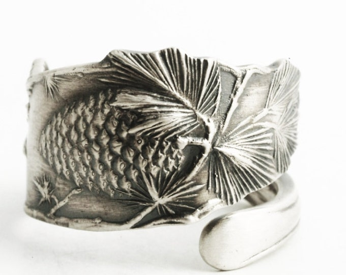 Pine Cones Ring, Ponderosa Pinecone Jewelry, Sterling Silver Spoon Ring, Pinecones Ring, Pine Tree, Nature Ring, Adjustable Ring Size 5939