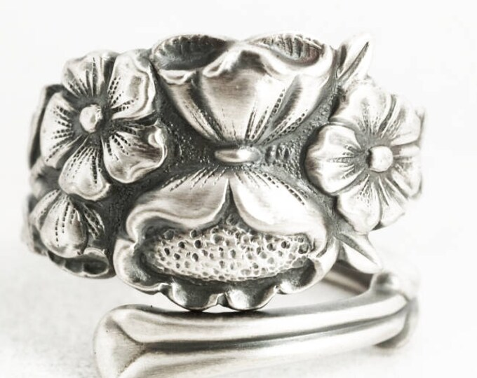 Wild Flower Ring, Sterling Silver Spoon Ring, Silver Flower Ring, Handmade Gift for Her, 5th Wedding, Adjustable Size, International (7049)