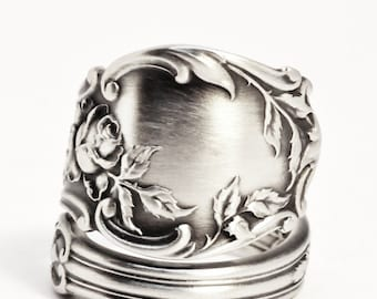 Rose Flower Ring, Sterling Silver Spoon Ring, Floral Ring, Tea Rose, 925 Antique Gorham Montclair ca 1910, Gift for Her, Rose Ring  (7510)