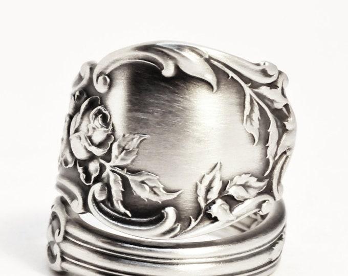 Rose Flower Ring, Sterling Silver Spoon Ring, Floral Ring, Tea Rose, 925 Antique Gorham Montclair ca 1910, Gift for Her, Rose Ring  (7510)